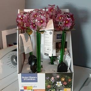 Solar powered LED flower stake